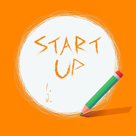 Writing note showing Start Up. Business concept for in the early process of establishing and developing a new business Scribbling of circular lines Using Pencil White Solid Circle 免版税图像