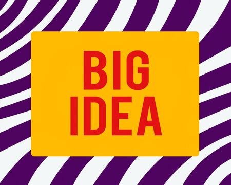 Word writing text Big Idea. Business photo showcasing introducing a concept, brand or product to the targeting public Horizontal Rectangular Shape with Bended Corner Blank Four sides Figure