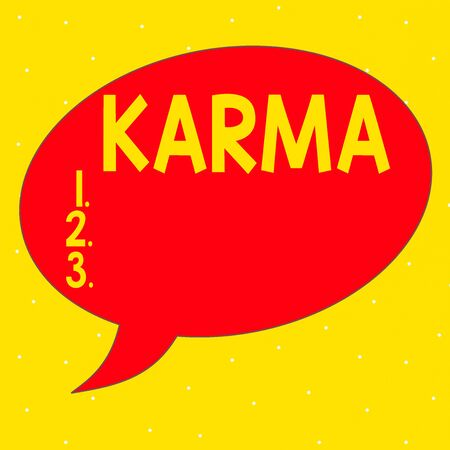 Word writing text Karma. Business photo showcasing sum of an individual actions in this and previous states of existence Speech Bubble Oval Shaped in Solid Color Outlined Text Balloon with Tail 스톡 콘텐츠