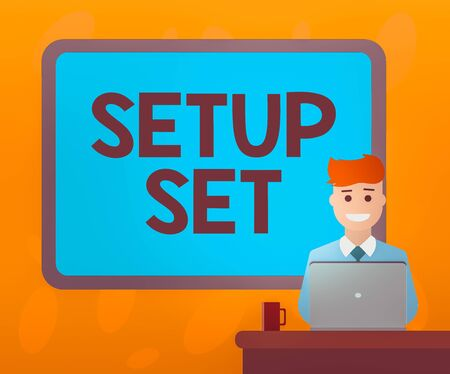 Writing note showing Setup Set. Business concept for planning how ecommerce business operates before launching Bordered Board behind Man Sitting Smiling with Laptop Mug on Desk Banco de Imagens