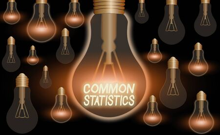 Text sign showing Common Statistics. Business photo text deals with collection analysis etc of numerical data Imagens