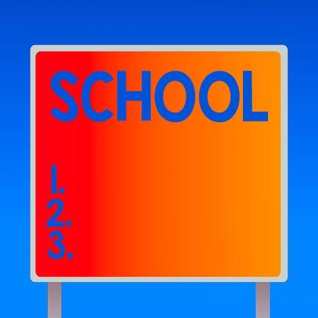 写作说明显示学校。设计的企业概念提供学习空间和学习环境方形广告牌站立与框架边界室外显示