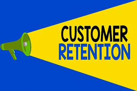 Word writing text Customer Retention. Business photo showcasing activities companies take to reduce user defections Halftone Megaphone Loudspeaker with Volume Capacity Extend Loudness Level