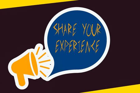 Handwriting text Share Your Experience. Conceptual photo tell us your story including ideas and feelings run into Megaphone with Loudness icon and Blank Speech Bubble in Sticker Style Stock Photo