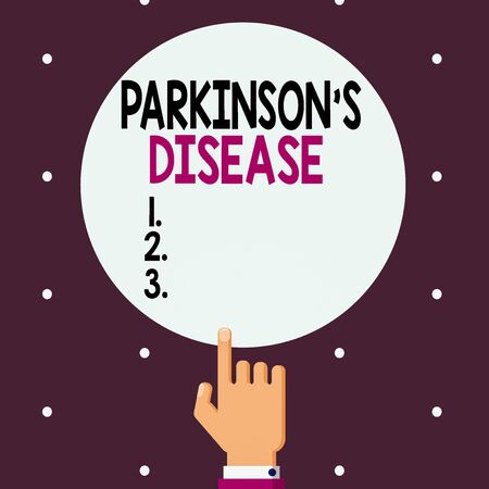 Word writing text Parkinsons Disease. Business photo showcasing chronic progressive neurological disease of later life Male Hu analysis Hand Pointing up Index finger Touching Solid Color Circle