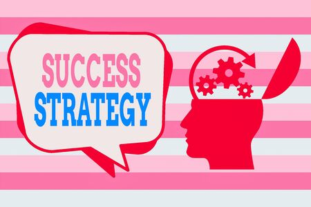 Text sign showing Success Strategy. Business photo showcasing provides guidance the bosses needs to run the company Hu analysis Head Silhouette Topside Open with Gears and Blank Halftone Bubble