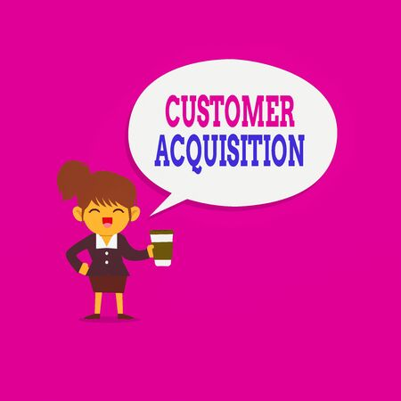 Writing note showing Customer Acquisition. Business concept for it refers to gaining new consumers to the business Female Hu analysis Wearing Uniform coffee Cup Speech Bubble