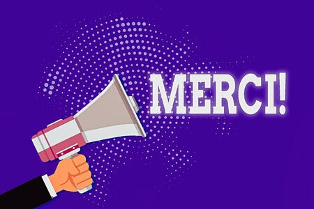 Handwriting text Merci. Conceptual photo thank you in French what is said when someone helps you in France Male Hu analysis Hand Holding Gripping a Megaphone on Dotted Halftone Pattern