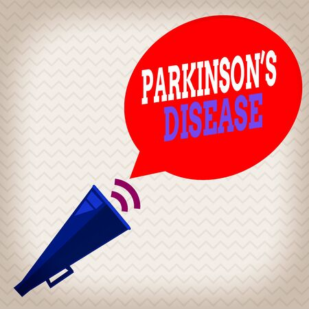 Conceptual hand writing showing Parkinsons Disease. Concept meaning chronic progressive neurological disease of later life Piped Megaphone with Sound Effect and Halftone Speech Bubble