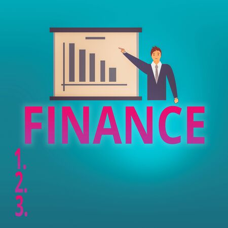 Conceptual hand writing showing Finance. Concept meaning describes activities associated with banking leverage or money Man in Business Suit Pointing a Board Bar Chart Copy Space Zdjęcie Seryjne