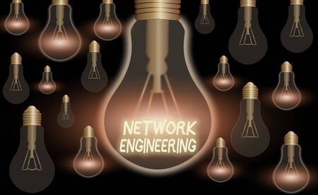 Text sign showing Network Engineering. Business photo text professional who has the skills to oversee the net