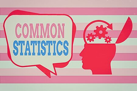 Text sign showing Common Statistics. Business photo showcasing deals with collection analysis etc of numerical data Hu analysis Head Silhouette Topside Open with Gears and Blank Halftone Bubble Imagens