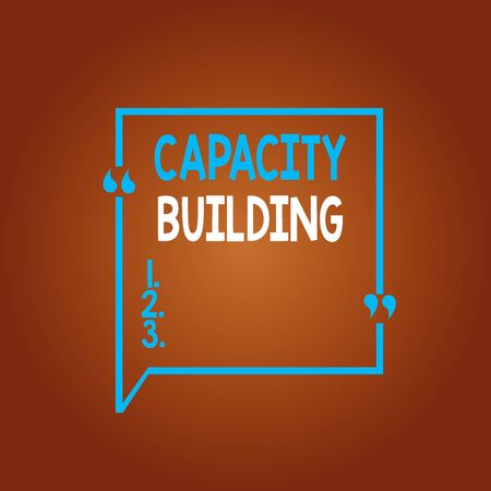 Conceptual hand writing showing Capacity Building. Concept meaning process by which individuals gain knowledge and skills Square Border Outline with Bubble Quotation Mark Punctuation