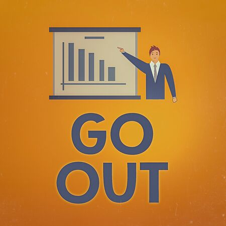 Writing note showing Go Out. Business concept for to spend more time outdoors or in any social event with freedom Man in Business Suit Pointing a Board Bar Chart Copy Space
