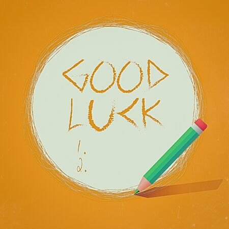 Writing note showing Good Luck. Business concept for expressing hope for someone to be successful with their circumstances Scribbling of circular lines Using Pencil White Solid Circle