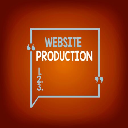 Conceptual hand writing showing Website Production. Concept meaning creating sites with layout content and graphic design Square Border Outline with Bubble Quotation Mark Punctuation