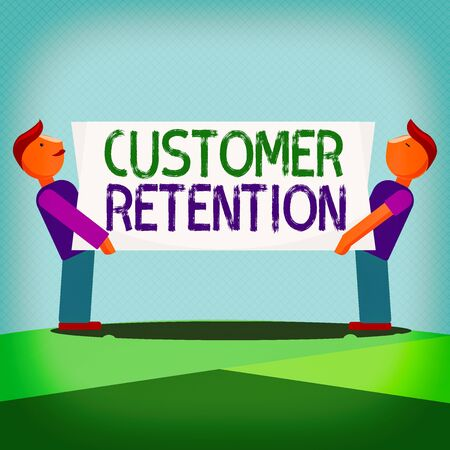 Text sign showing Customer Retention. Business photo showcasing activities companies take to reduce user defections Two Men Standing Carrying Rectangular Blank Panel Board on Both Sides