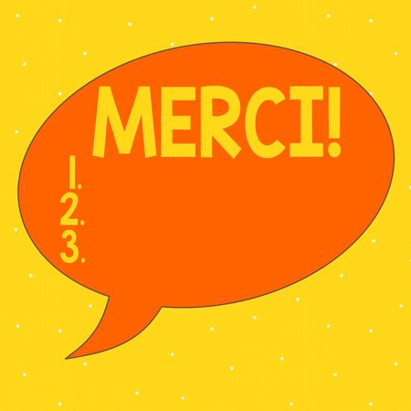 Word writing text Merci. Business photo showcasing thank you in French what is said when someone helps you in France Speech Bubble Oval Shaped in Solid Color Outlined Text Balloon with Tail Foto de archivo
