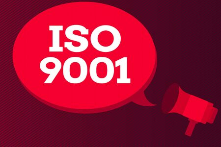 Word writing text Iso 9001. Business photo showcasing the appropriate international standard followed to ensure customer s is requirement Megaphone make an Announcement Relay message Empty Blank Speech Balloon