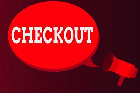 Word writing text Checkout. Business photo showcasing a point at which goods are paid for in a supermarket or other store Megaphone make an Announcement Relay message Empty Blank Speech Balloon Stock Photo