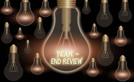 Text sign showing Year end Review. Business photo text annual assessment of achievement and goal development 스톡 콘텐츠