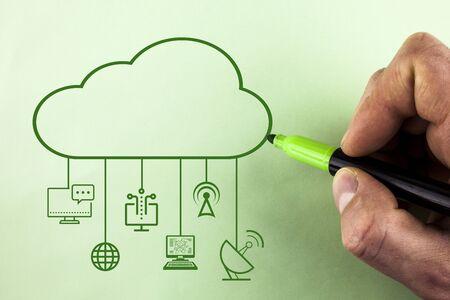 Futuristic Big Data Cloud Computing Diagram Network Storage Technology