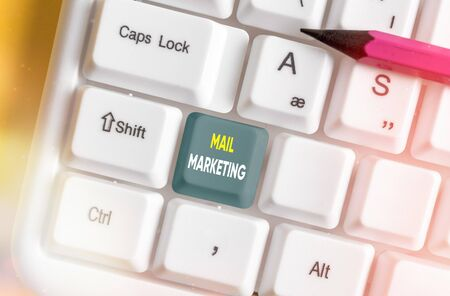 Text sign showing Mail Marketing. Business photo text sending a commercial message to build a relationship with a buyer Stock Photo