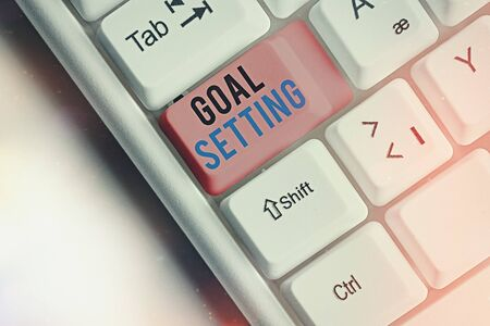 Word writing text Goal Setting. Business photo showcasing dream big motivational advice or reminder to take action Stock Photo