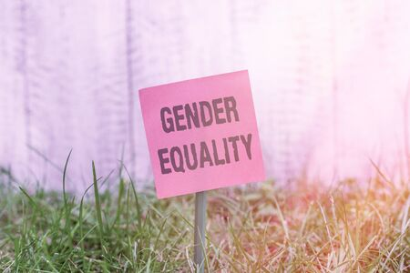 Writing note showing Gender Equality. Business concept for access to same privilege given to both men and women Plain paper attached to stick and placed in the grassy land