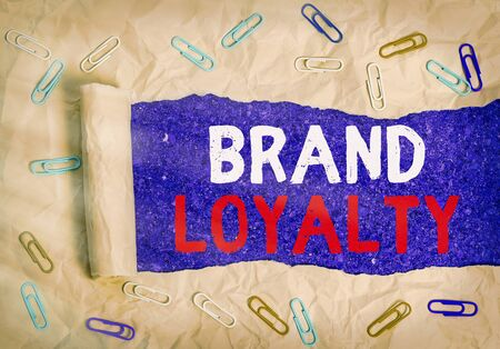Word writing text Brand Loyalty. Business photo showcasing positive feelings to a brand and purchase the same product