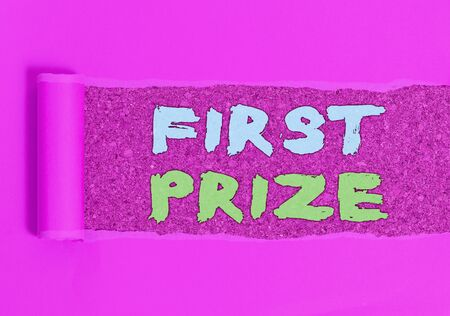 Conceptual hand writing showing First Prize. Concept meaning most coveted prize that is only offered to the overall winner