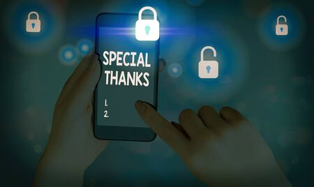 Writing note showing Special Thanks. Business concept for appreciating something or someone in a most unique way Stockfoto