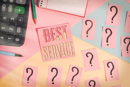 Text sign showing Best Service. Business photo showcasing finest reviewed assistance provided by a system to its customer Mathematics stuff and writing equipment above pastel colours background