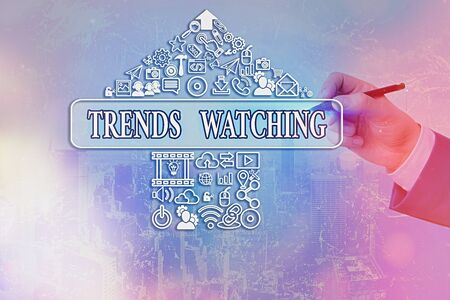 Handwriting text writing Trends Watching. Conceptual photo a business firm that usually engages and dominates the market