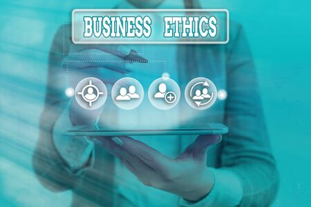 Conceptual hand writing showing Business Ethics. Concept meaning appropriate policies which govern how a business operates