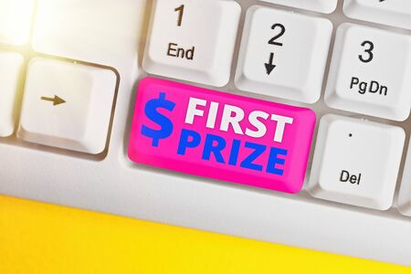 Writing note showing First Prize. Business concept for most coveted prize that is only offered to the overall winner