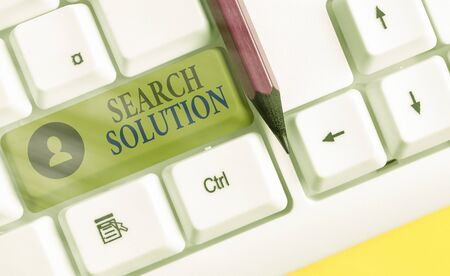 Writing note showing Search Solution. Business concept for finding the appropriate answer while dealing a problem