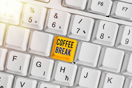 Word writing text Coffee Break. Business photo showcasing short time allotted for drinking coffee without doing any work