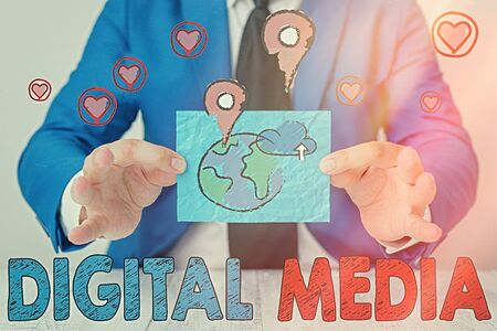 Writing note showing Digital Media. Business concept for Accessing any digitized content using etechnology system