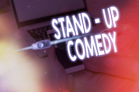 Text sign showing Stand up Comedy. Business photo showcasing a comic style where a comedian recites humorous stories