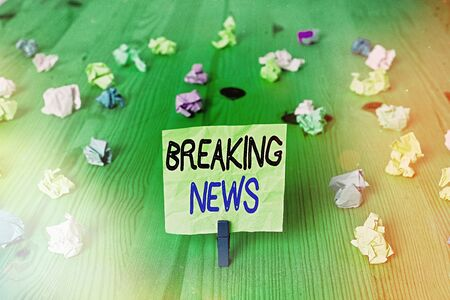 Conceptual hand writing showing Breaking News. Concept meaning newly received current information about an occurred event Stock Photo