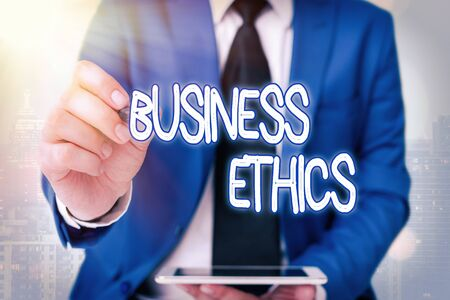 Word writing text Business Ethics. Business photo showcasing appropriate policies which govern how a business operates