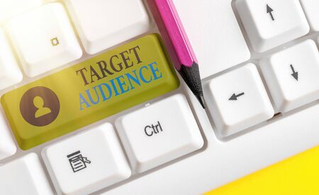 Writing note showing Target Audience. Business concept for intended group of consumers most likely to be interested