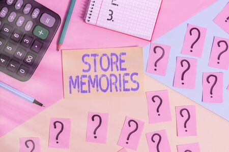 Conceptual hand writing showing Store Memories. Concept meaning a process of inputting and storing data previously acquired Mathematics stuff and writing equipment on pastel background 写真素材