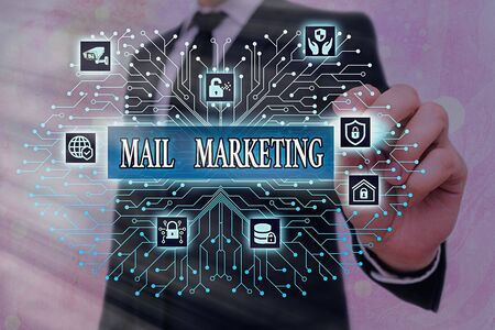 Word writing text Mail Marketing. Business photo showcasing sending a commercial message to build a relationship with a buyer Stock Photo