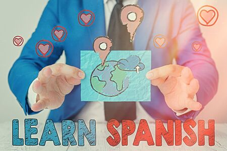 Writing note showing Learn Spanish. Business concept for to train writing and speaking the national language of Spain