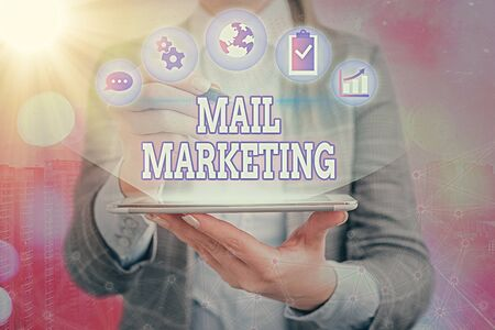 Handwriting text writing Mail Marketing. Conceptual photo sending a commercial message to build a relationship with a buyer