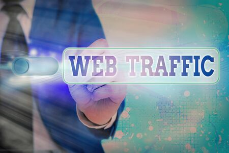 Writing note showing Web Traffic. Business concept for amount of web users and attempted visit measured of a website