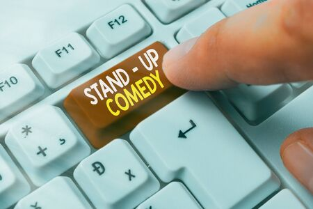 Conceptual hand writing showing Stand up Comedy. Concept meaning a comic style where a comedian recites humorous stories