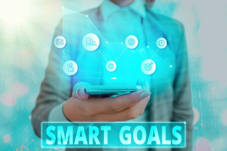 Text sign showing Smart Goals. Business photo showcasing mnemonic used as a basis for setting objectives and direction